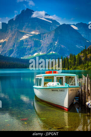 Swiftcurrent Lake is located in the Many Glacier region of Glacier National Park, in the U.S. state of Montana. - Stock Photo