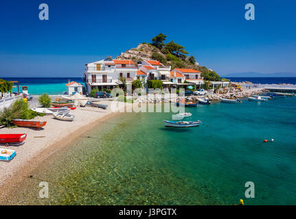 Kokkari is a fishing harbour of Samos Island, which has now developed into a tourist center. Still, it preserves - Stock Photo