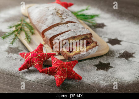 Christmas Stollen, spices and gingerbread cookies - Stock Photo