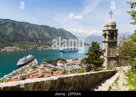 The Majestic Princess & Azamara Quest cruise ships pictured at the foot of the Gulf of Kotor allowing visitors to - Stock Photo