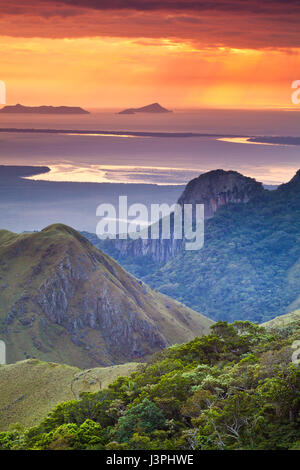 Early morning in Altos de Campana national park, Pacific slope, Republic of Panama. In the background is Punta Chame - Stock Photo