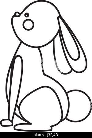 cute easter rabbit animal line - Stock Photo