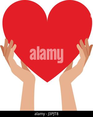 hands holding heart blood donation - Stock Photo