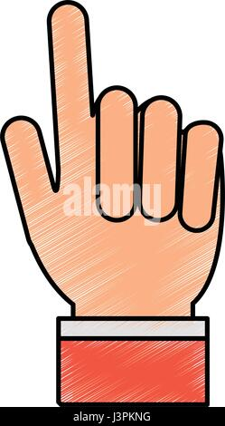 color pencil hand with two fingers up - Stock Photo