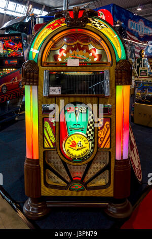 STUTTGART, GERMANY - MARCH 03, 2017: Vintage musical jukeboxe. Europe's greatest classic car exhibition 'RETRO CLASSICS' - Stock Photo