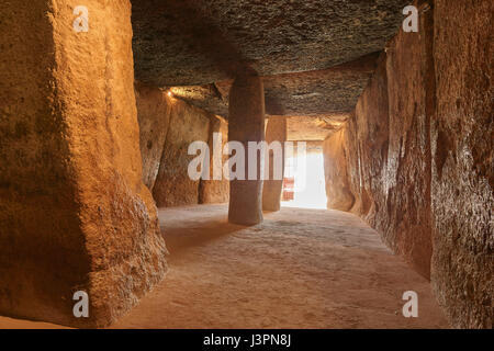 Dolmen of Menga, Menga megalithic dolmen, Antequera, Malaga province, Andalusia, Spain - Stock Photo