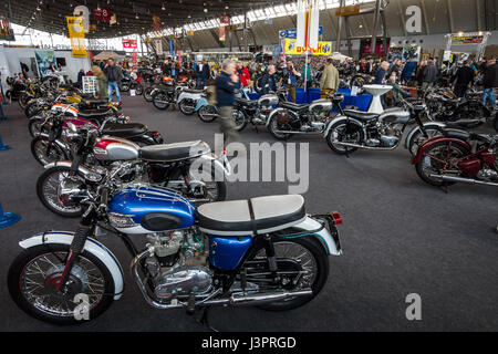 STUTTGART, GERMANY - MARCH 03, 2017: Exhibition pavilion with various motorcycles. Europe's greatest classic car - Stock Photo
