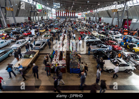 STUTTGART, GERMANY - MARCH 03, 2017: Exhibition pavilion with various cars. View from above. Europe's greatest classic - Stock Photo