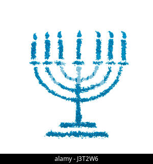 Jewish Hanukkah Menorah symbol made with color powder, isolated on a white background - Stock Photo