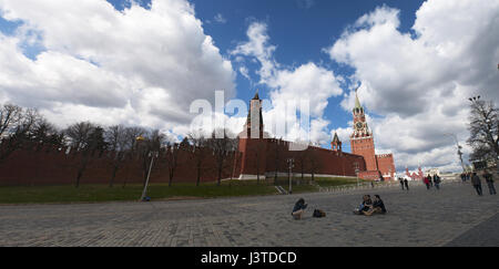 The fortified complex of Moscow Kremlin Wall with Spasskaya (Saviour Tower), the little Tsarskaya (Tsar's Tower) - Stock Photo