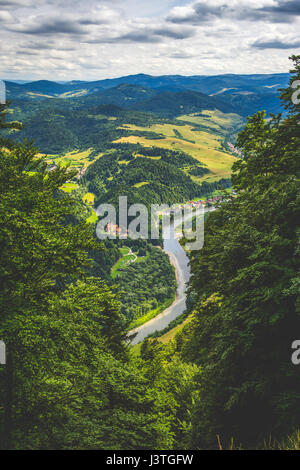 Aerial view from the Trzy Korony peak in the Pieniny mountains in Poland. - Stock Photo