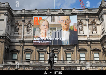 Royal Academy of Art poster  'America after the Fall' on the exterior facade of the building  April 2017  KATHY - Stock Photo