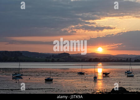 Sunset over the River Exe estuary seen from Lympstone towards Starcross - Stock Photo