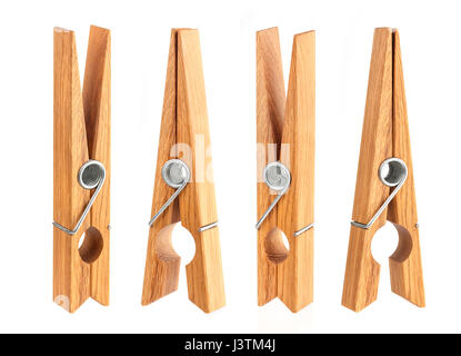 Wooden clothes pin isolated on white background - Stock Photo