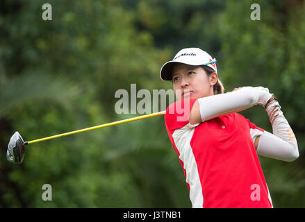 Hong Kong's Olympic golfer Tiffany Chan on the 1st tee in the final Round of the 37th Queen Sirikit Cup Asia-Pacific - Stock Photo