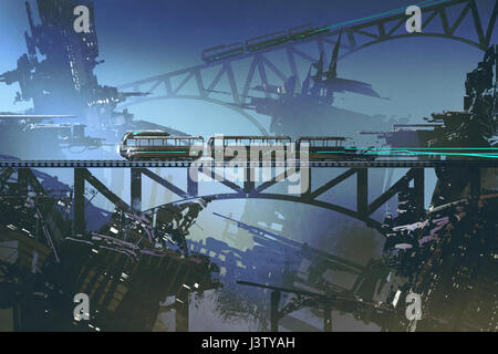 scene of futuristic train on railway and bridge in abandoned city with digital art style, illustration painting - Stock Photo