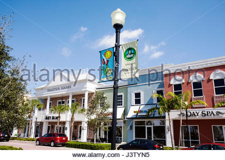 Port St. Lucie Florida Saint Tradition planned community real estate development new construction Tradition Square - Stock Photo