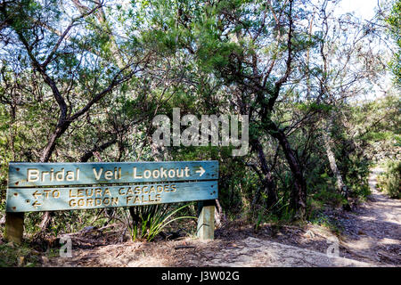 Blue Mountains national park sign for Bridal Veil Lookout, New south wales,Australia - Stock Photo