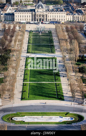 View of Champ de Mars or Field of Mars. View southeast from the top level of the Eiffel Tower, down Champ de Mars - Stock Photo