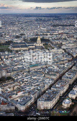 Paris and L'hotel national des Invalides in the evening. Paris. France - Stock Photo