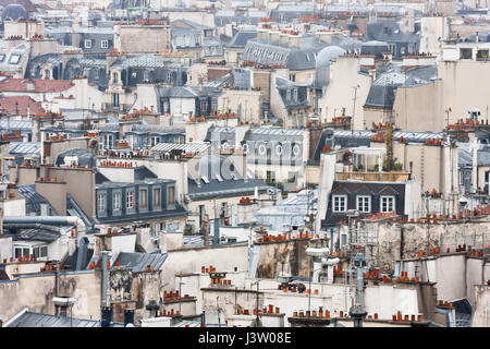 View to Paris roofs from Cathedrale Notre-Dame de Paris. France. - Stock Photo