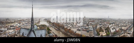 Panoramic view to Seine river, Ile de la Cite and Latin Quarter from Notre-Dame de Paris tower. Top of Notre-Dame - Stock Photo