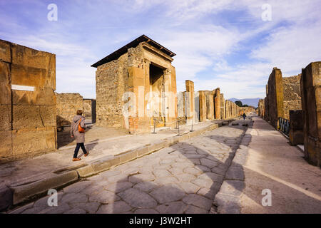 The city buried under ash, Pompeii in Italy near Naples. - Stock Photo