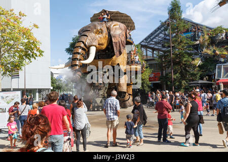 The Great Elephant at Les Machines de l'île, Nantes, France. Created by François Delarozière and Pierre Orefice's - Stock Photo