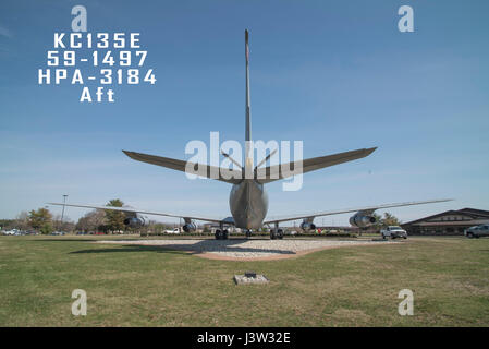 An aft view of a 108th Wing, New Jersey Air National Guard, KC-135E sitting on display at Joint Base McGuire-Dix - Stock Photo