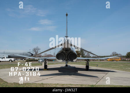 An aft view of a 108th Wing, New Jersey Air National Guard, F-4E sitting on display at Joint Base McGuire-Dix-Lakehurst, - Stock Photo