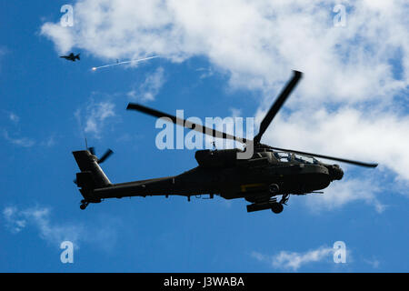 A U.S. Army AH-64D Apache Attack Helicopter, assigned to the 1-151st Attack Reconnaissance Battalion, during the - Stock Photo