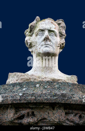 Bust of French writer and politician Francois-Rene de Chateaubriand in Treguier, France - Sculpture by Yves Kerguenou - Stock Photo