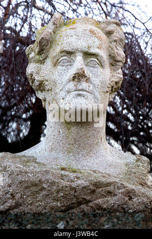 Bust of French writer and politician Francois-Rene de Chateaubriand in Treguier, Brittany, France - Sculpture by - Stock Photo