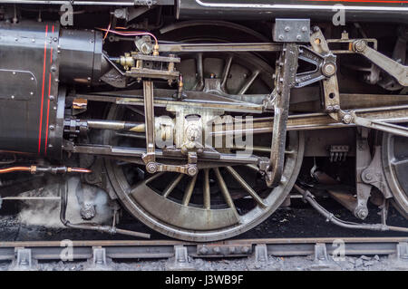 Closeup of the wheel on an old steam locomotive. - Stock Photo