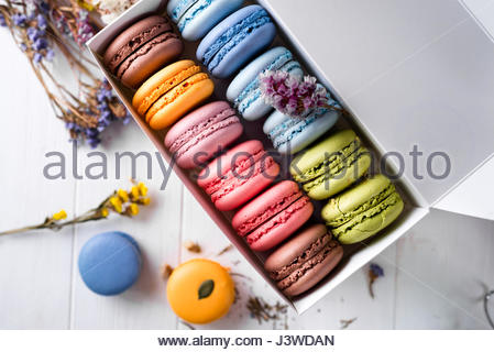 Colorful macaroons gift box. Sweet macarons present. Isolated on ...