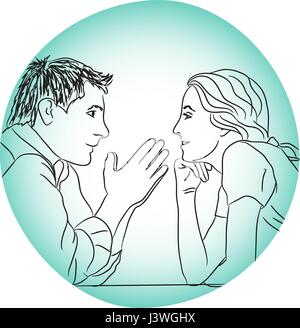 conversation couple love dating evening without rules concept - Stock Photo