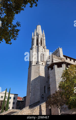 Basilica of Sant Feliu (Iglesia de San Felix) in Girona, Catalonia, Spain - Stock Photo