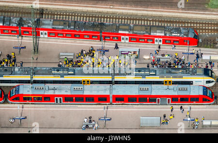 BVB fans on the S-Bahn railway, Dortmund main station, red S-Bahn, Dortmund, Ruhr area, North Rhine-Westphalia, - Stock Photo