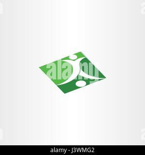 footballer shooting soccer green icon - Stock Photo