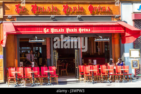 Paris, France-july 9 ,2016 : The traditional Parisian cafe Le Relais Paris opera located near Opera Palace of Paris. - Stock Photo