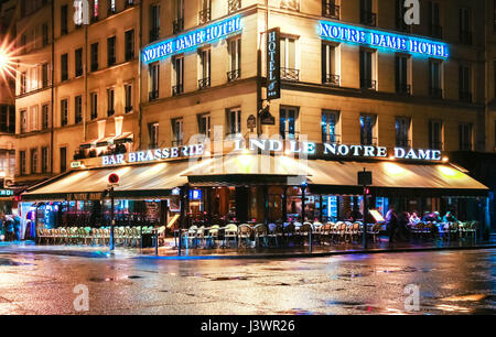 Paris, France-April 30 ,2017 : The traditional Parisian cafe Le notre Dame located near Notre Dame cathedral. - Stock Photo