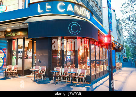 Paris, France-April 23 ,2017 : The traditional Parisian cafe Le Canon located near Nation square in Paris, France. - Stock Photo