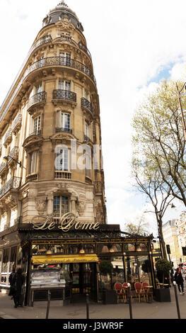 Paris, France-April 02 ,2017 : The famous restaurant Le Dome located on Montparnasse boulevard. - Stock Photo