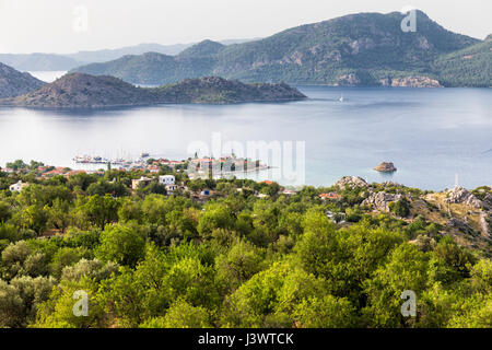 High angle view of Selimiye. Selimiye is a village in Marmaris District, Mugla Province, Turkey - Stock Photo