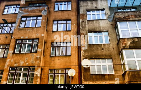 Bullet holes in a facade wall building in Sarajeva, Bosnia and Herzegovina - Stock Photo