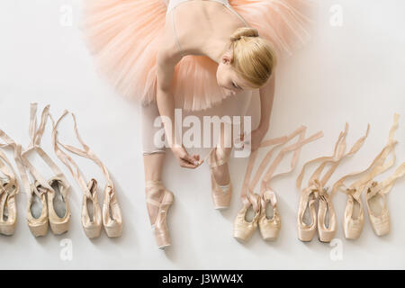 Blonde ballerina in studio - Stock Photo