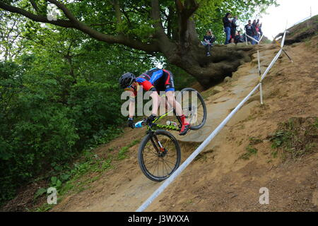 Hadleigh, Essex. UK. 7th May, 2017. The race is the biggest of the year for UK cross-country, and with hors categorie - Stock Photo