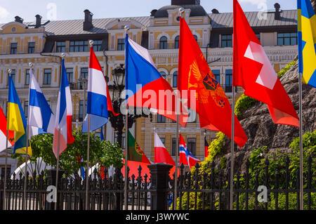 KIEV, UKRAINE - MAY 7, 2017: flags of European countries in Eurovision fan zone in Kiev, Ukraine, 2017 Credit: Denys - Stock Photo