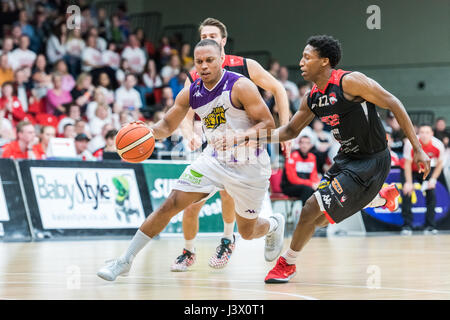 Leicester, UK, 7 May 2017.  The BBL 2nd Leg Semi Final Leicester Riders vs London Lions held in the Leicester Arena, - Stock Photo