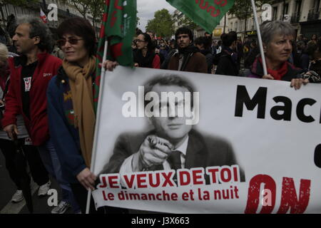 Paris, France. 8th May, 2017.  Demonstration against the future program of Emmanuel Macron  -      At the call of - Stock Photo